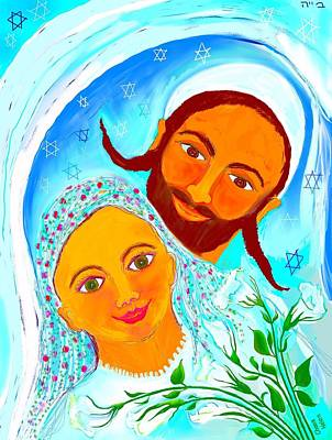 Painting - Bride And Groom With White Flowers by Chana Helen Rosenberg
