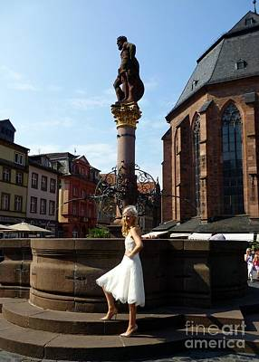 Photograph - Bride At The Fountain In Heidelberg by Barbie Corbett-Newmin