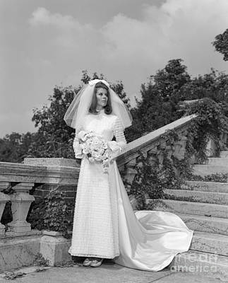 Urban Style Clothes Photograph - Bride Holding Bouquet, C.1960s by H. Armstrong Roberts/ClassicStock