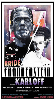 Mixed Media - Bride Of Frankenstein 1935 by Sean Parnell