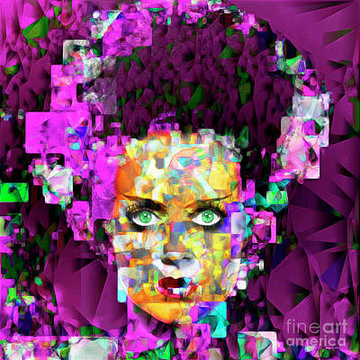 Horror Movies Photograph - Bride Of Frankenstein In Abstract Cubism 20170407 by Wingsdomain Art and Photography