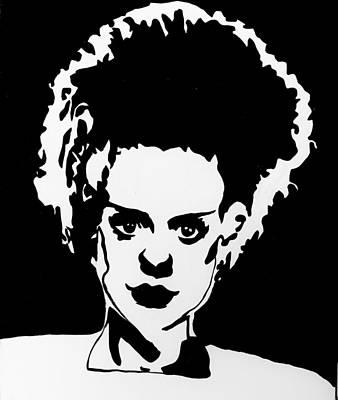 Painting - Bride Of Frankenstein In Black by Marisela Mungia