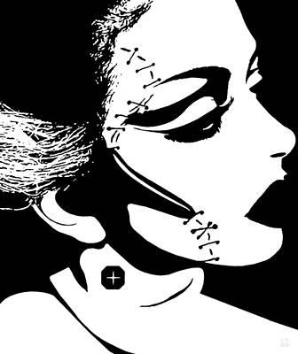 Black White Drawing - Bride Of Frankenstein by Katrina Britt