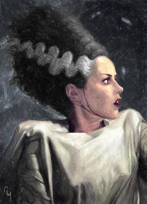 Bride Of Frankenstein Painting - Bride Of Frankenstein by Taylan Apukovska