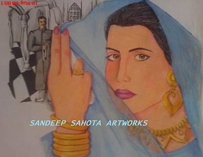 Intezaar Painting - Bride by Sandeep Kumar Sahota