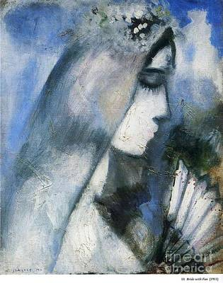 Marc Chagall Painting - Bride With A Fan by Marc Chagall