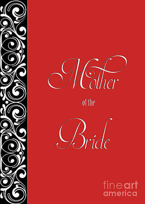 Digital Art - Brides Mother Red Deco by JH Designs