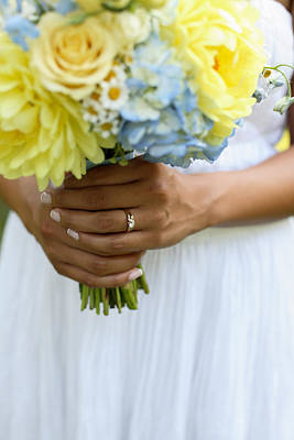 Blue Flowers Photograph - Brides Wedding Ring by Gillham Studios