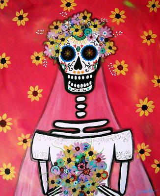 Print featuring the painting Bridezilla Dia De Los Muertos by Pristine Cartera Turkus