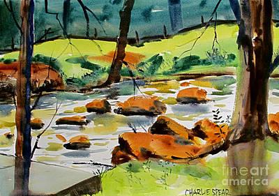 Painting - Bridge Across Tadpole Creek Maconaquah Plein Air Framedah Park by Charlie Spear