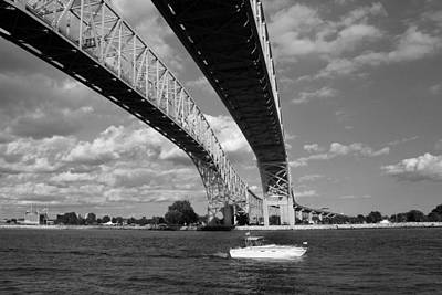 Photograph - Bridge And Boat Bw by Mary Bedy