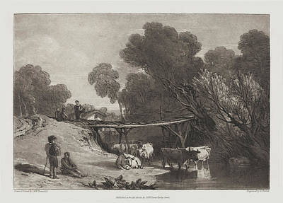Painting - Bridge And Cows by Joseph Mallord William Turner and Charles Turner