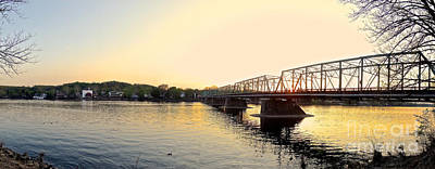 Photograph - Bridge And New Hope At Sunset by Christopher Plummer