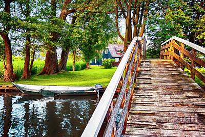 World Forgotten - Bridge And River In Old Dutch Village by Ariadna De Raadt