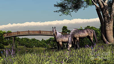 Digital Art - Bridge And Two Horses by Walter Colvin