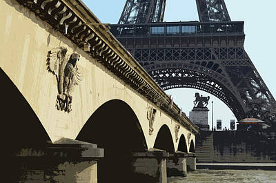 Digital Art - Bridge Arches And Imperial Eagles On Pont D'lena Below Eiffel Tower Paris France Cutout Digital Art by Shawn O'Brien