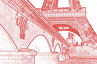 Digital Art - Bridge Arches And Imperial Eagles On Pont D'lena Below Eiffel Tower Paris France Stamp Digital Art by Shawn O'Brien