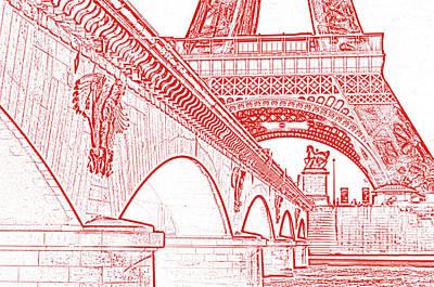 Digital Art - Bridge Arches And Imperial Eagles On Pont D'lena Below Eiffel Tower Paris France Stamp Digital Art by Shawn O'Brien