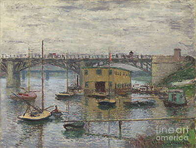 Glove Painting - Bridge At Argenteuil On A Gray Day by Celestial Images
