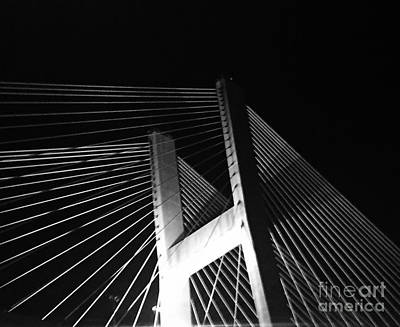 Photograph - Bridge At Night Black And White by Robin Lewis