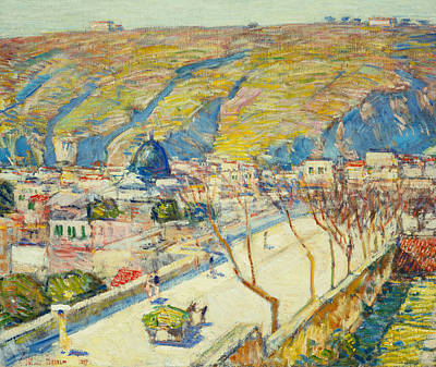Bridge At Posilippo At Naples Print by Childe Hassam