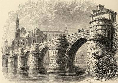 Manning Drawing - Bridge At Saragossa Spain From The Book by Vintage Design Pics
