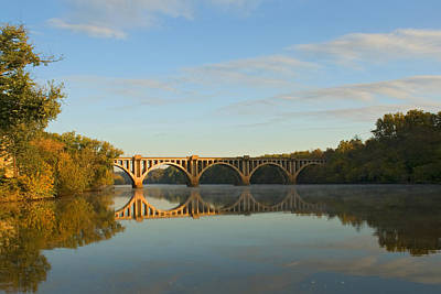 Bridge At Sunrise Art Print by John Magor