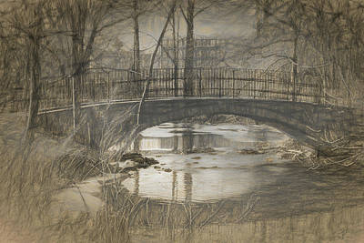 Drawing - Bridge At The Fens by Thomas Logan