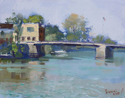 Fall Of River Painting - Bridge At Tonawanda Canal by Ylli Haruni