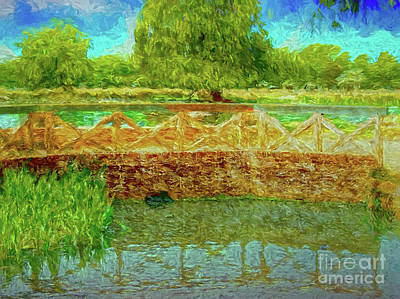 Digital Art - Bridge By The Lake by Leigh Kemp