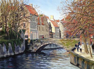 Bridge In Bruges Belgium Original by Daniel Fishback