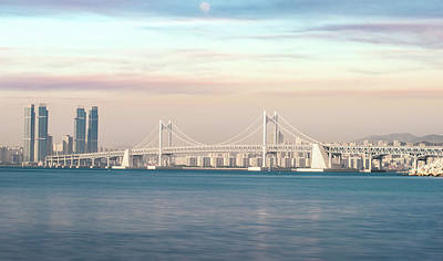 Photograph - Bridge In Busan City With Sunset And Sweet Sky by Anek Suwannaphoom