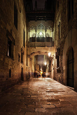 Photograph - Bridge In Gothic Quarter Of Barcelona At Night by Artur Bogacki