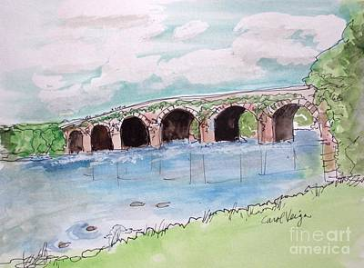 Cloudy Day Drawing - Bridge In Ireland by Carol Veiga