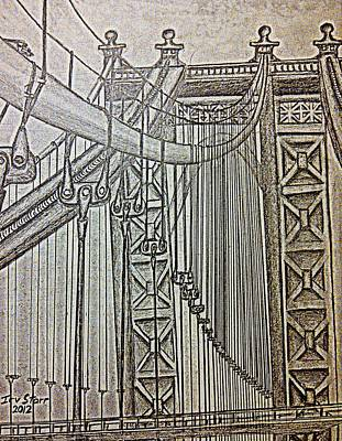Suspension Drawing - Bridge In New York by Irving Starr