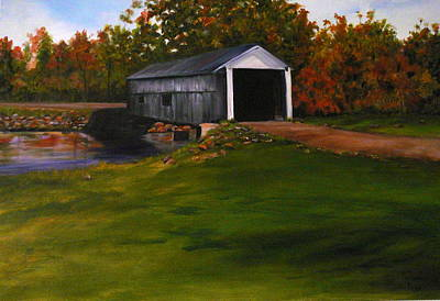 Covered Bridge Painting - Bridge In The Fall by Betty Pimm