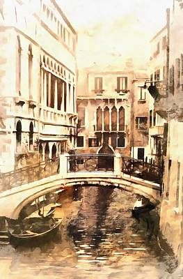 Photograph - Bridge In Venice Vintage by Dorothy Berry-Lound