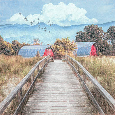 Photograph - Bridge Into The Country In Soft Watercolors by Debra and Dave Vanderlaan