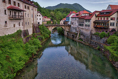 Photograph - Bridge Into Town - Slovenia by Stuart Litoff