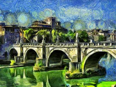 Roman Digital Art - Bridge Of Angels - Da by Leonardo Digenio