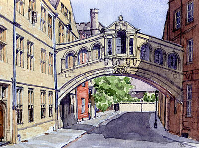 Library Painting - Bridge Of Sighs. Hertford College Oxford by Mike Lester