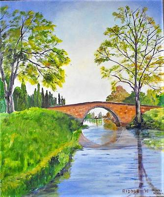 Painting - Bridge On The Canal Du Midi by Jack Riddle