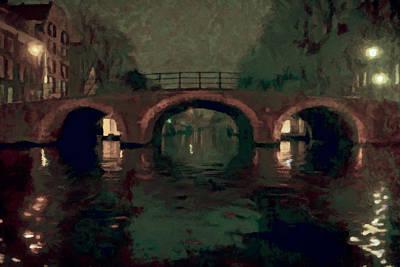 Bridge Over Amsterdam Canals Art Print