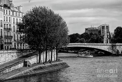 Photograph - Bridge Over Seine River Black White  by Chuck Kuhn
