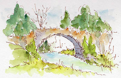 Raw Sienna Painting - Bridge Over Spencer Creek by Pat Katz