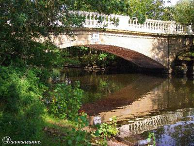 Garden Painting - Bridge Over Still Waters. Stippled  Painting by Dawn Hay