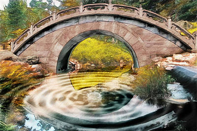 Photograph - Bridge Over The Pond-watercolor by Ericamaxine Price