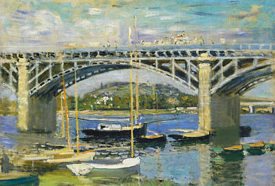 Reflecting Water Painting - Bridge Over The River At Argenteuil by Claude Monet