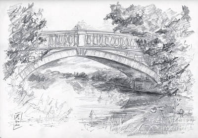 Drawing - Bridge Over The River White Cart by Brandy Woods