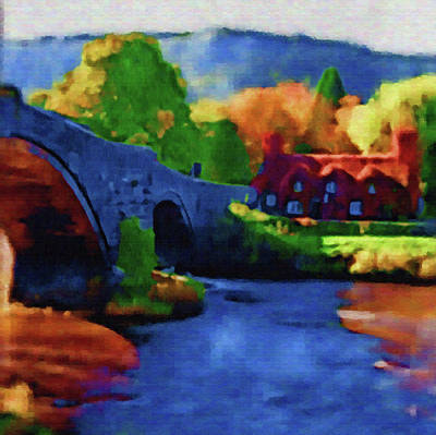 Wales Digital Art - Bridge Over The Snowdonia by Mario Carini